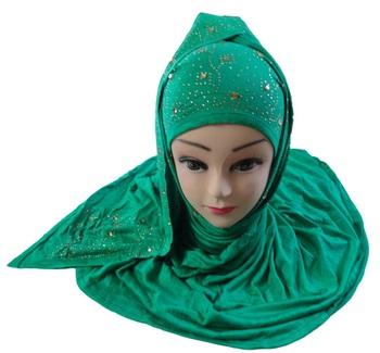 Green diamond stone work hoisery cotton women's headscarf