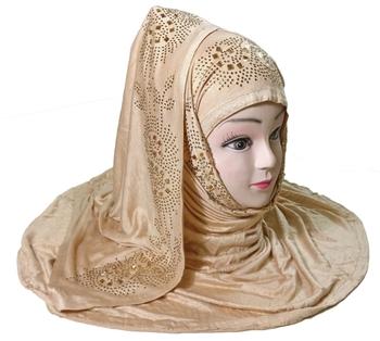 Beige Diamond Stone Work Hoisery Cotton Women'S Headscarf
