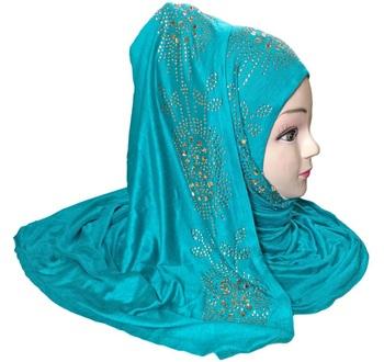 Cyan Diamond Stone Work Hoisery Cotton Women'S Headscarf