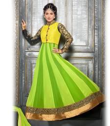 Buy Green and Yellow  Anarkali Suit party-wear-salwar-kameez online