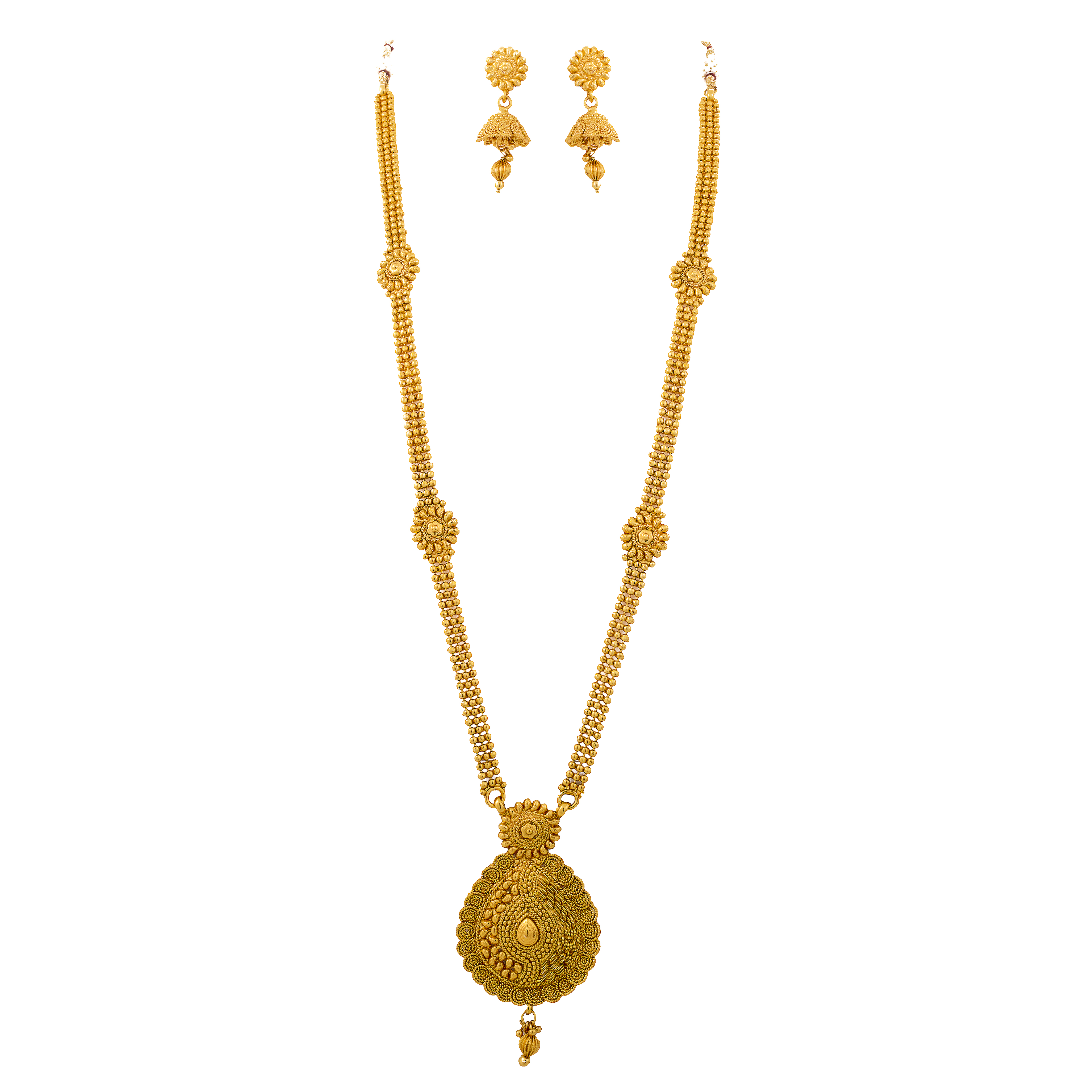 f47513421c1 One gram gold plated long necklace set with jhumka
