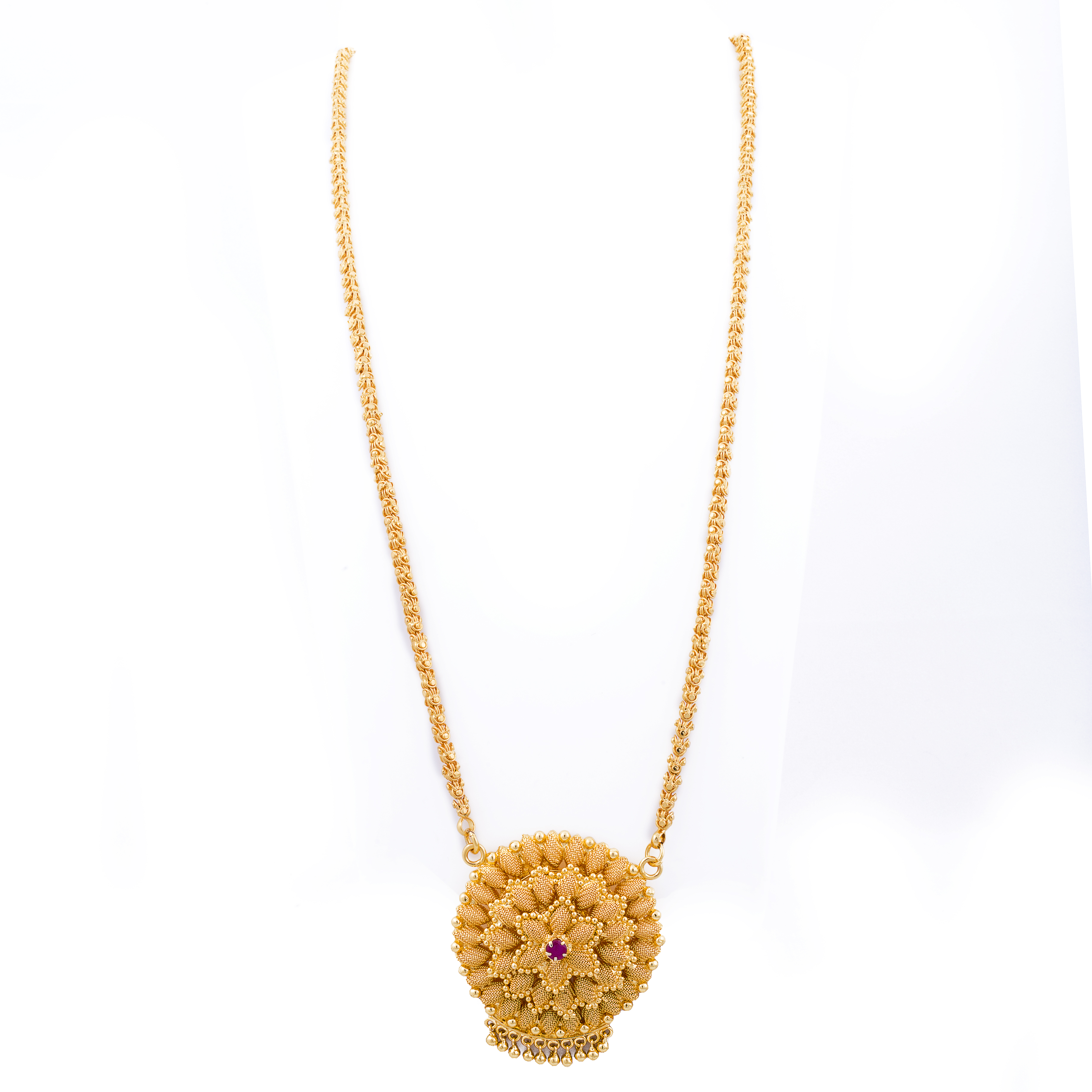 dd061257606 One gram gold plated long ruby diamond designer necklace