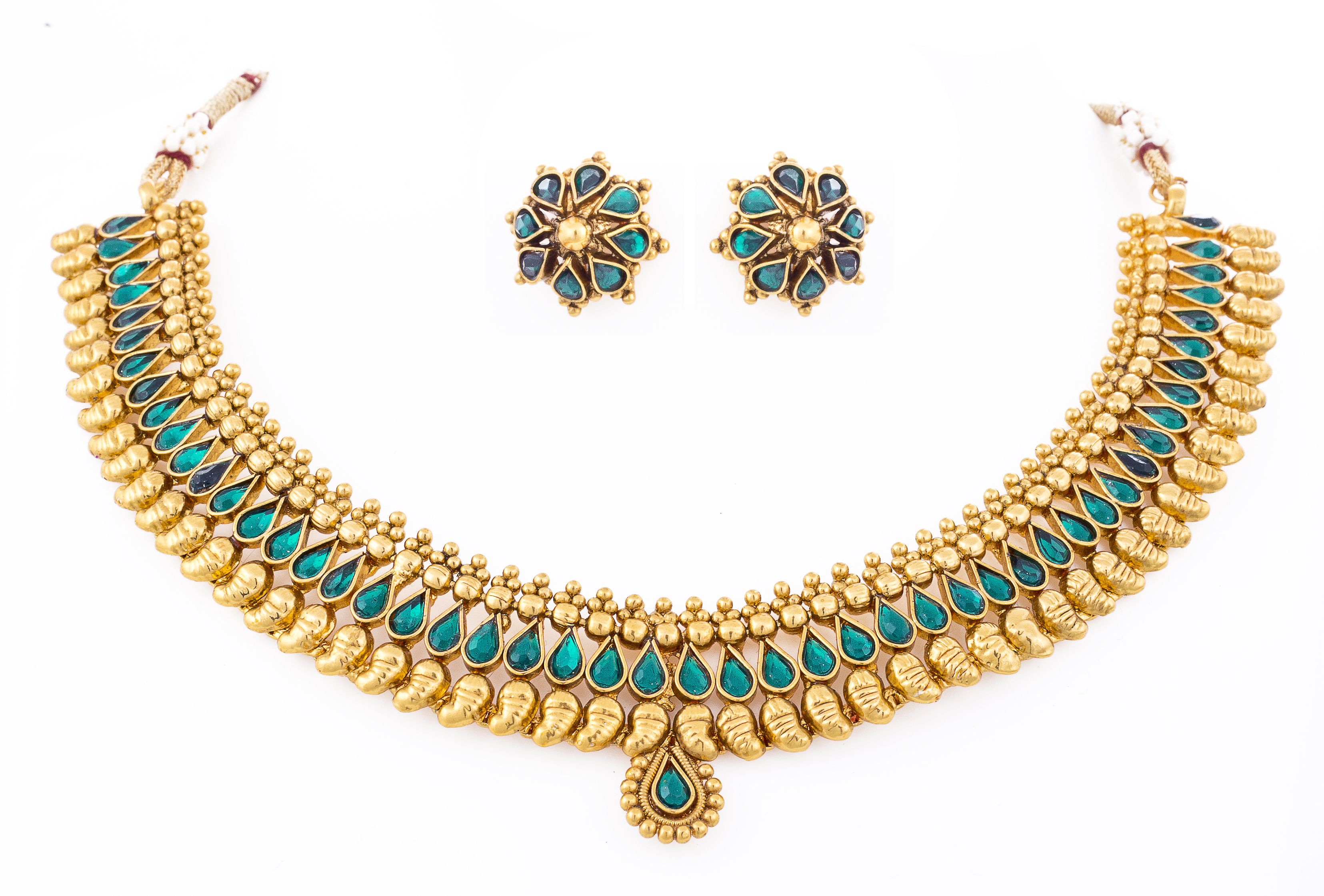 5d5f5b8b729 One gram gram gold plated emerald green necklace set with stud earrings