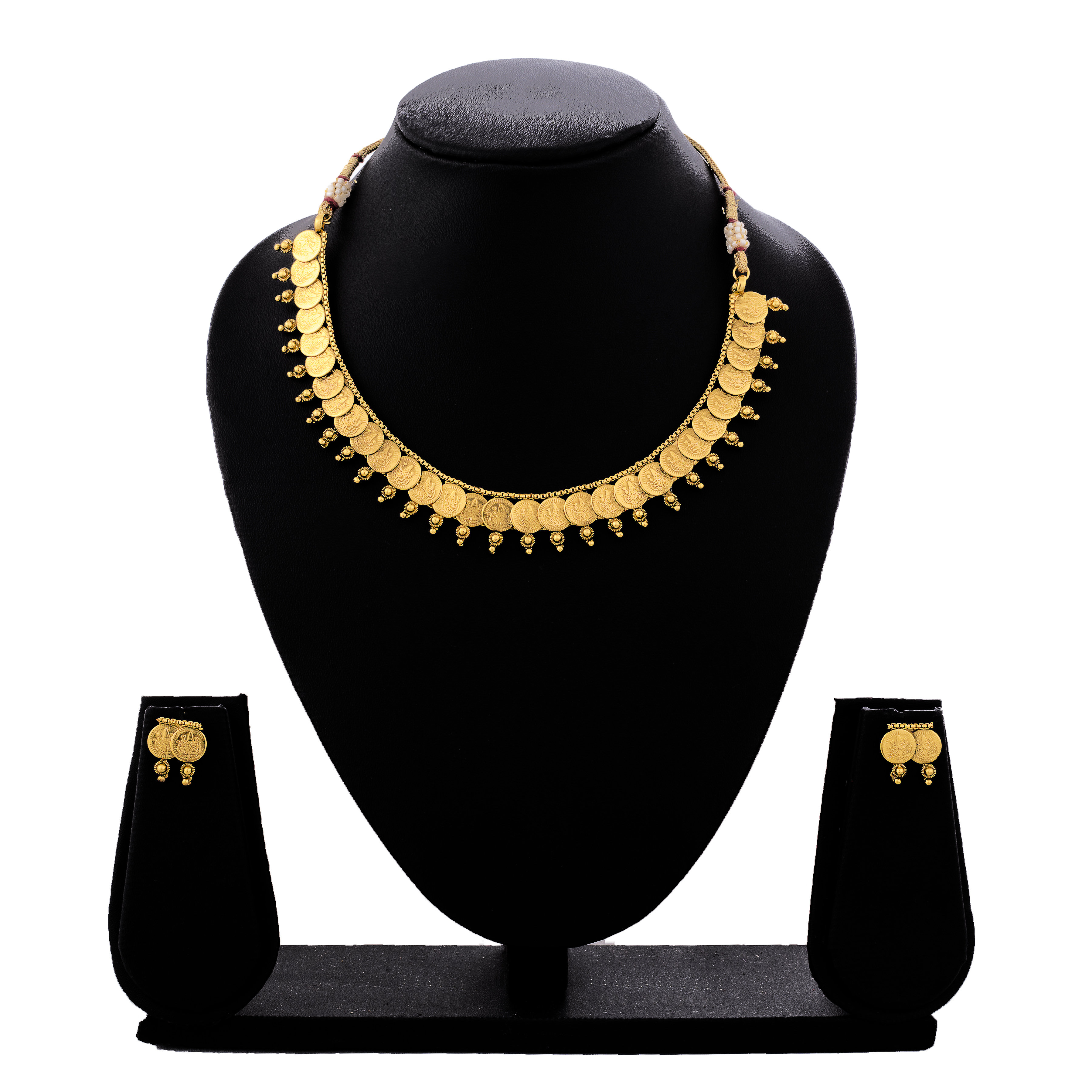 73c7c6135b2 One gram gram gold plated mahalaxmi coin designer necklace set with earrings