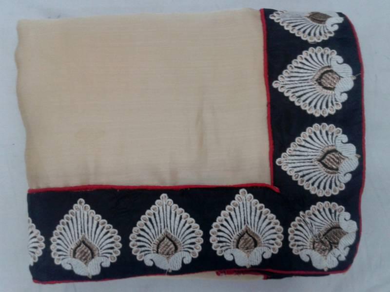 Silk With Embroidery Thread Work Border Concept Satin Saree
