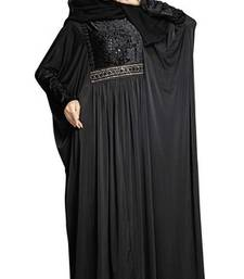 Buy Black colour diamond stone work strechable lycra fully stitched free size abaya women-ethnic-wear online