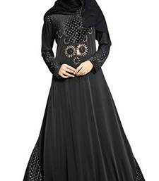 Black colour diamond stone work strechable lycra fully stitched burkha