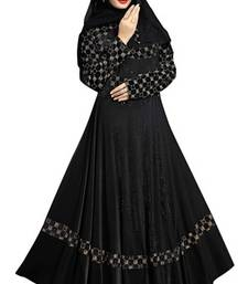 Buy Black colour diamond stone work strechable lycra fully stitched jacket style burkha burka online