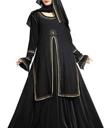 Buy Black colour diamond stone work strechable lycra fully stitched jacket style burkha burka online
