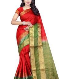 Buy Red woven nylon saree with blouse banarasi-saree online