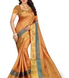 Buy Chiku woven nylon saree with blouse banarasi-saree online
