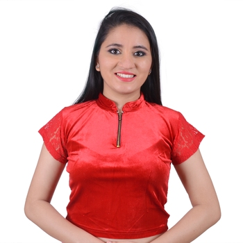 Red  Cotton Lycra Solid stitched blouse