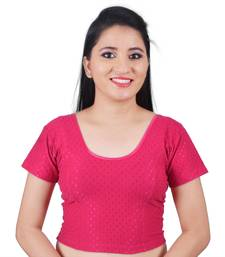 Pink Cotton Lycra Solid stitched blouse