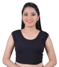 Black Cotton Lycra Solid stitched blouse