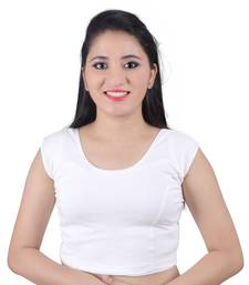 White Cotton Lycra Solid stitched blouse
