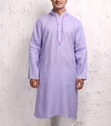 Purple Kurta Pure Linen With Resham Embroidery