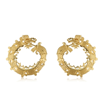 Gold Plated Mayan Dragon Earrings For Women Fashion Online