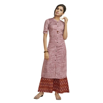 Light pink self design cotton salwar