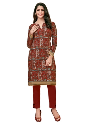 Red Printed Cotton Kurtas And Kurtis