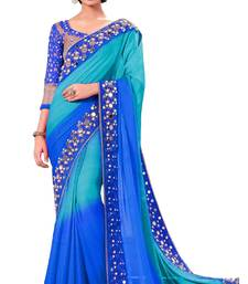 Buy Blue printed georgette saree with blouse women-ethnic-wear online