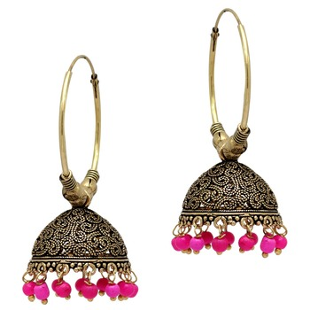 Rani Color Beads Jhumka Earrings For Girls  and  Women