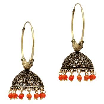 Orange Color Beads Traditional Jhumka Earrings
