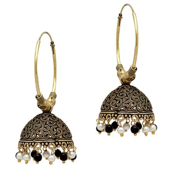 Partywear Special Black  And  White Color Beads Jhumka Earrings
