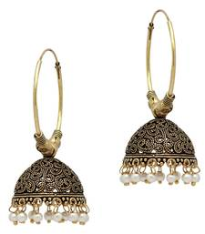 White Color Beads Traditional Jhumka Earrings