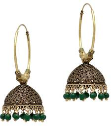 Green Color Beads Jhumka Earrings For Girls  and  Women