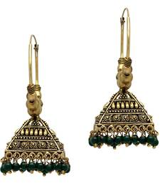 Buy Green Color Beads Jhumka Traditional Earrings For Girls  and  Women jhumka online