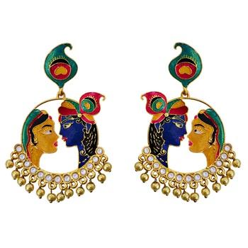 Meenkari kundan Radha Krishna brass Gold plated bali jhumki earring-552