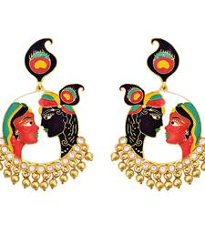 Meenkari kundan Radha Krishna brass Gold plated bali jhumki earring-553
