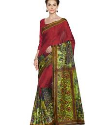 Buy Red printed manipuri silk saree with blouse manipuri-silk-saree online