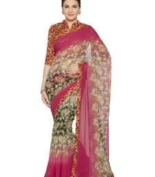 Buy Pink printed faux georgette saree with blouse