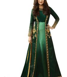 Green Embroidered Dupion Silk Anarkali Suit