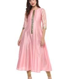 Pink  dupion silk stitched kurti