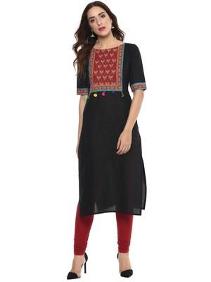 Black  cotton stitched kurtas-and-kurtis