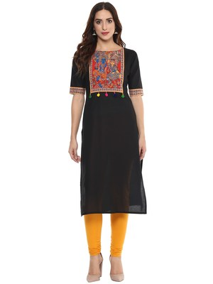 Black  cotton stitched kurtas-and-kurtis