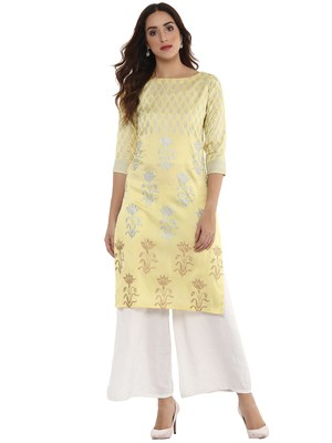 Yellow  dupion silk stitched kurtas-and-kurtis
