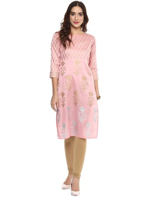 Pink  dupion silk stitched kurtas-and-kurtis