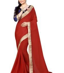 Buy Red plain silk saree with blouse art-silk-saree online