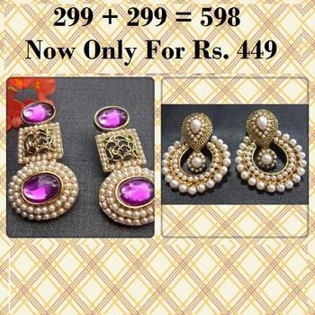 Buy 1 Get 1 Free Pearl Polki Earrings