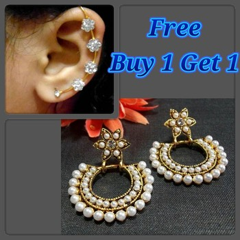 Buy 1 Get 1 Flower pearl polki earrings