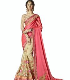 Buy Pink embroidered silk saree with blouse party-wear-saree online