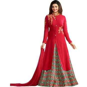 Red embroidered georgette anarkali salwar with dupatta