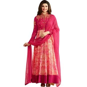 Pink Embroidered Georgette Anarkali Salwar With Dupatta