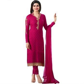 Pink embroidered brasso salwar with dupatta