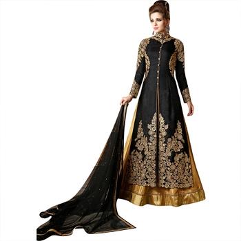 Black embroidered silk anarkali salwar with dupatta