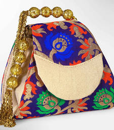 Buy Cute  Multicolor with Attractive Golden Handle Fabric Banarasi Brocade Clutch potli-bag online