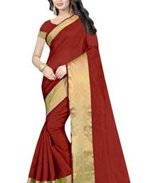 Buy Multicolor printed cotton silk saree with blouse below-1500 online